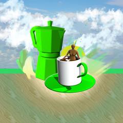 chicco di caffè-caffettiera-tazza