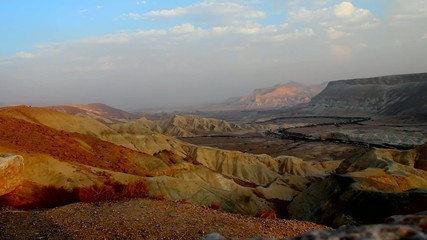 Stony desert view at the evening,. Canyon Ein-Avdat