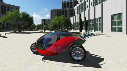 Futuristic car in the city. Raster. 3