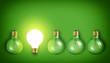 Idea concept with row of vintage light bulbs