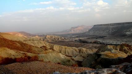 Canyon Ein-Avdat in Negev desert at the dusk