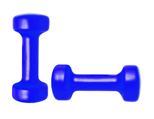 blue dumbbells isolated on white