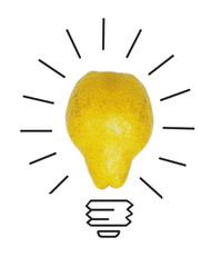 Inspiration concept yellow pear as light bulb metaphor for good