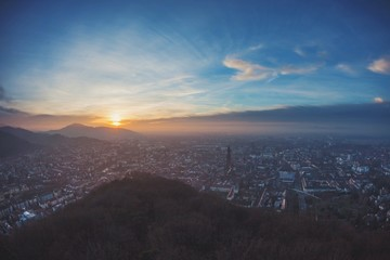 view of city of freiburg at sunset
