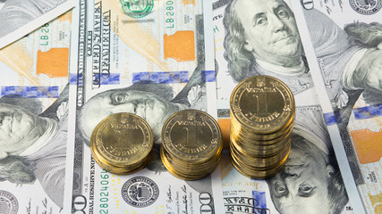 Rising exchange rate of Ukrainian grivna (hryvnia) for dollar