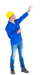 Supervisor with hand raised holding clipboard