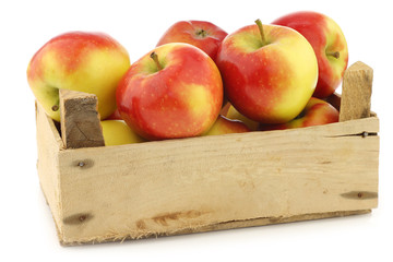 """fresh new Dutch apple variety called """"Kanzi"""" in a wooden crate"""