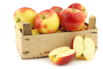 "fresh new Dutch apple variety called ""Kanzi"" in a wooden crate"