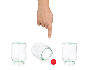Hand and shell game with glass jars