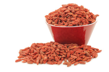 dried goji berries (Lycium Barbarum - Wolfberry) in a red bowl