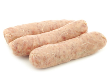 """Traditional sausage called """"bratwurst"""" on a white background"""