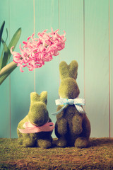 Easter bunnies with hyacinth