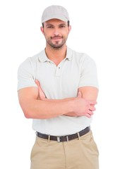 Delivery man standing arms crossed