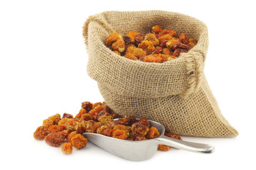 Dried Cape gooseberries (Physalis peruviana) in a burlap bag  on