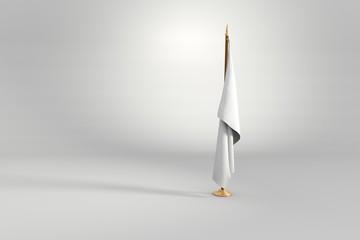 White flag 3D illustration on a wooden mast