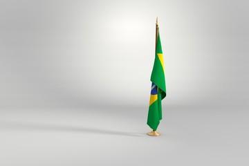 Brazil flag 3D illustration on a wooden mast