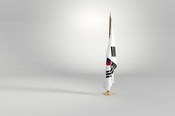 South Korea flag 3D illustration on a wooden mast