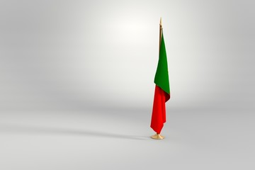 Portugal flag 3D illustration on a wooden mast
