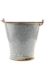 vintage empty grey enamel bucket on a white background