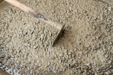 mixed fresh concrete on construction site