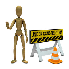 Wooden toy with under construction signal