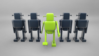Different green toy robot