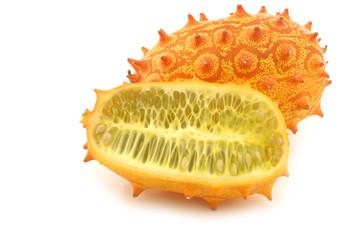 "Kiwano melon  ((Cucumis metuliferus)  ""African Horned Melon""  an"