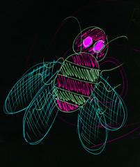 Bee drawn in pencil