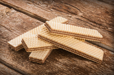 Wafers on wooden table.