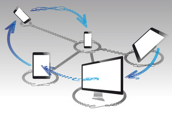 technologie internet scribble vector