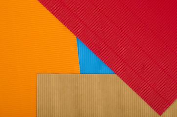 Corrugated color cardboard. Colorful paper.