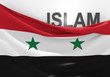 Постер, плакат: Islam in Syria concept with Syrian flag and text