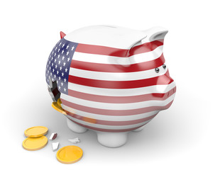 United States economy and finance concept for national debt