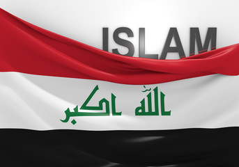 Islam in Iraq concept, with Iraqi flag and text
