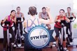 The word gym fun and trainer and fitness class