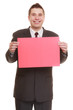 Business man holding sign red blank
