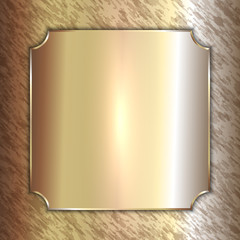 Vector precious metal golden plate on patina background