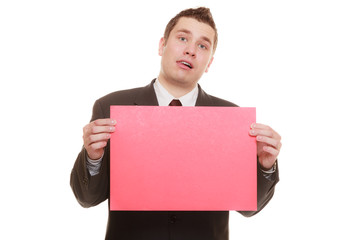 Funny business man holding sign red blank