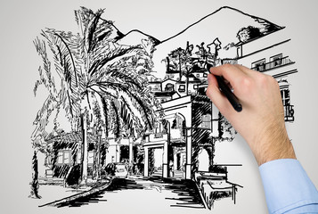 drawing modern house