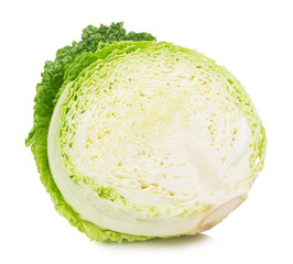 half of cabbage isolated on the white background