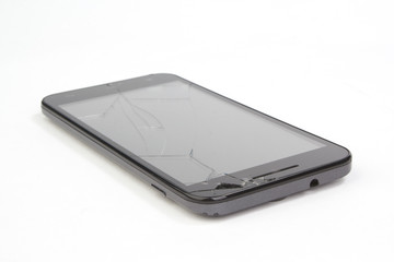 Smartphone with a broken display screen