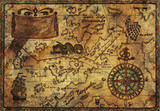 Fototapety Hand drawn pirate map with old fabric texture