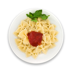 Pasta Farfalle on plate. Isolated on white background. Top view