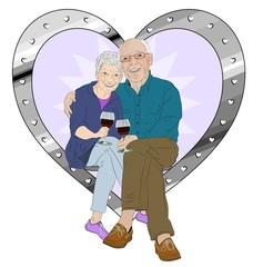 Elderly Couple Celebration