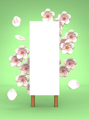 Cherry Blossoms And Blank Billboard On Green Background