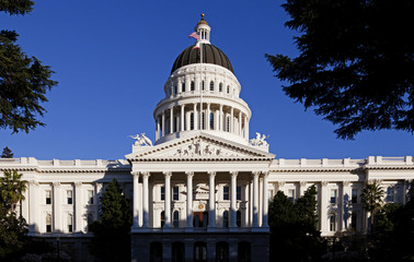Front Of California State Capitol Building Blue Sky