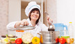 Happy  woman  with ladle