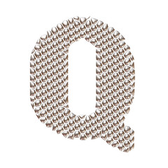 3D letter Q dots pattern in silver on isolated white