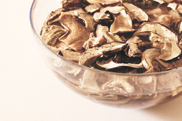 Dried porcini mushrooms to soak