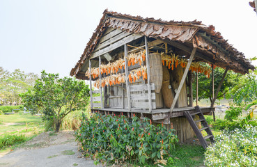 wooden barn for keep Agricultural product in north of Thailand